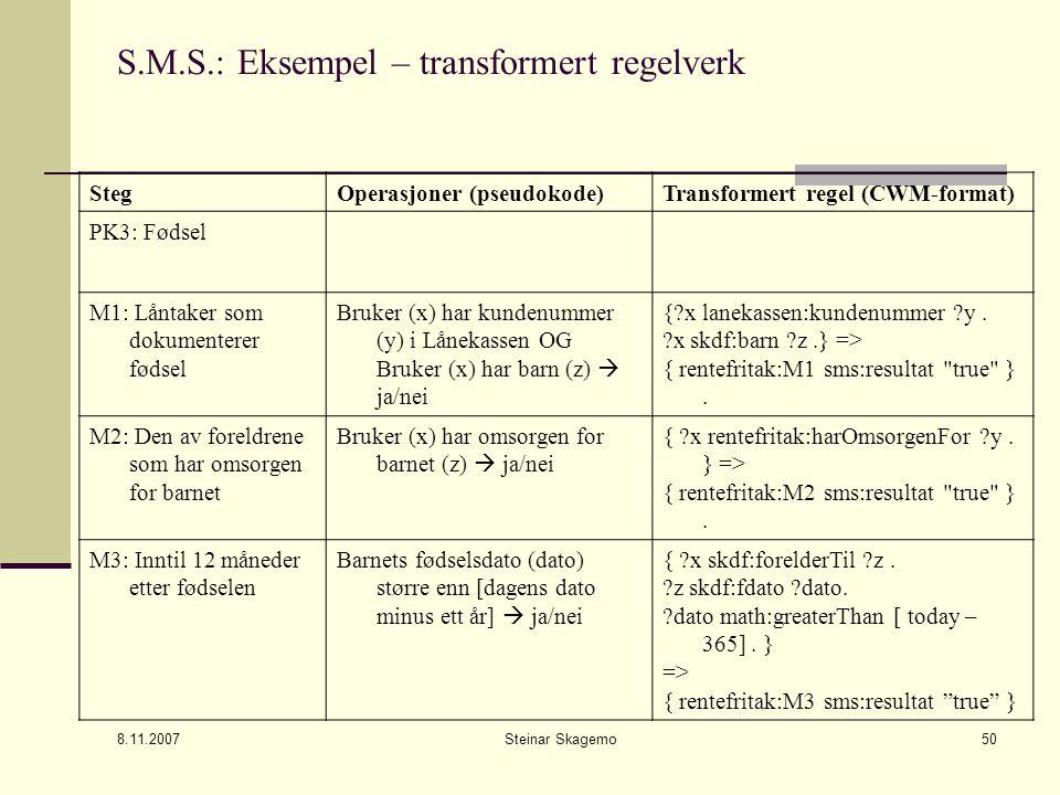 8.11.2007 Steinar Skagemo50 S.M.S.: Eksempel – transformert regelverk StegOperasjoner (pseudokode)Transformert regel (CWM-format) PK3: Fødsel M1: Låntaker som dokumenterer fødsel Bruker (x) har kundenummer (y) i Lånekassen OG Bruker (x) har barn (z)  ja/nei {?x lanekassen:kundenummer ?y.