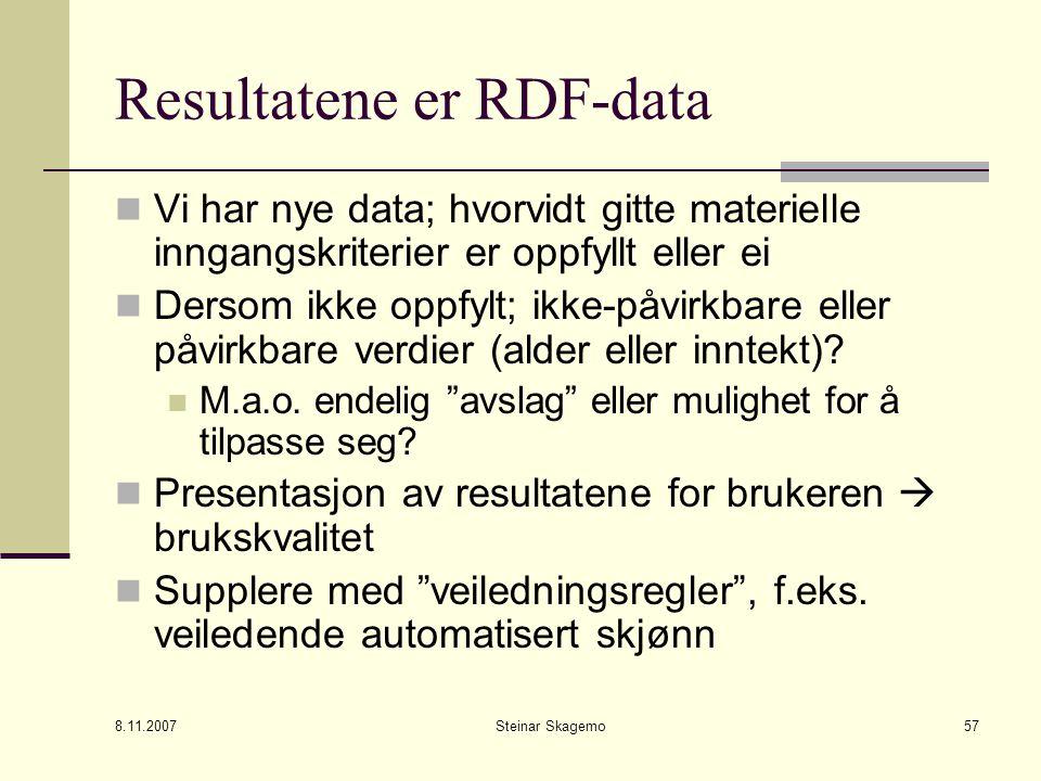 8.11.2007 Steinar Skagemo57 Resultatene er RDF-data Vi har nye data; hvorvidt gitte materielle inngangskriterier er oppfyllt eller ei Dersom ikke oppfylt; ikke-påvirkbare eller påvirkbare verdier (alder eller inntekt).