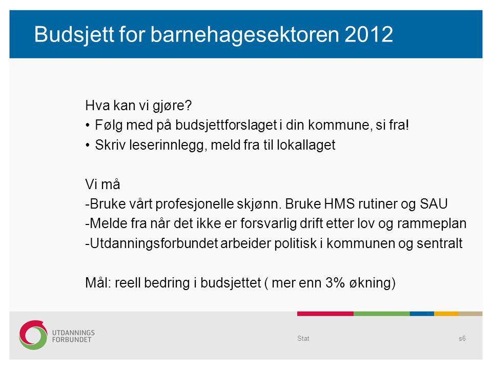 Budsjett for barnehagesektoren 2012 Hva kan vi gjøre? Følg med på budsjettforslaget i din kommune, si fra! Skriv leserinnlegg, meld fra til lokallaget