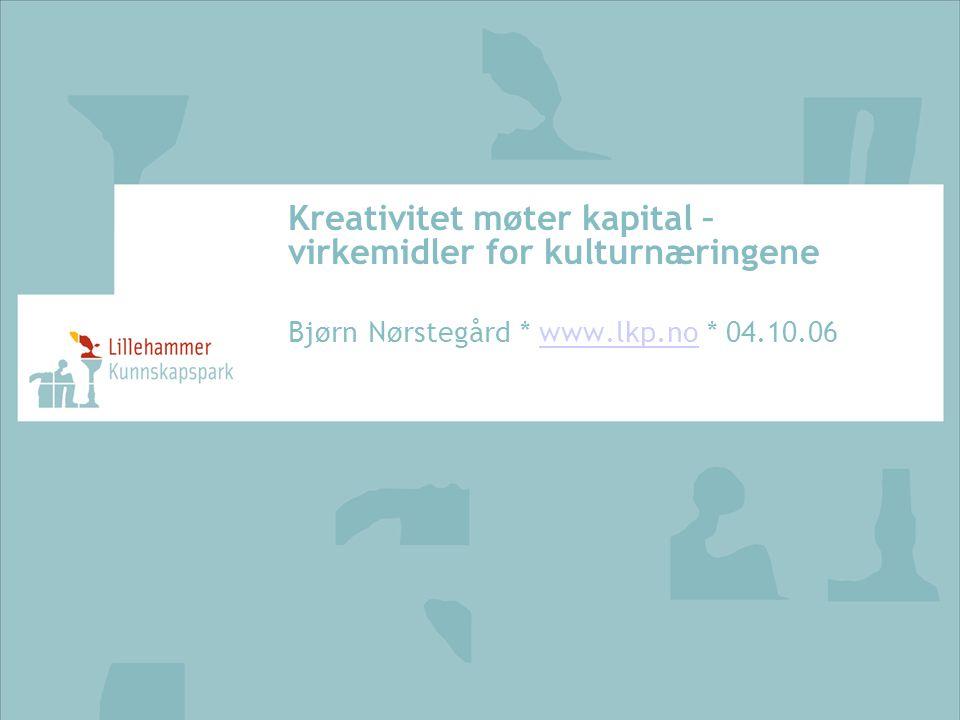 Kreativitet møter kapital – virkemidler for kulturnæringene Bjørn Nørstegård * www.lkp.no * 04.10.06www.lkp.no