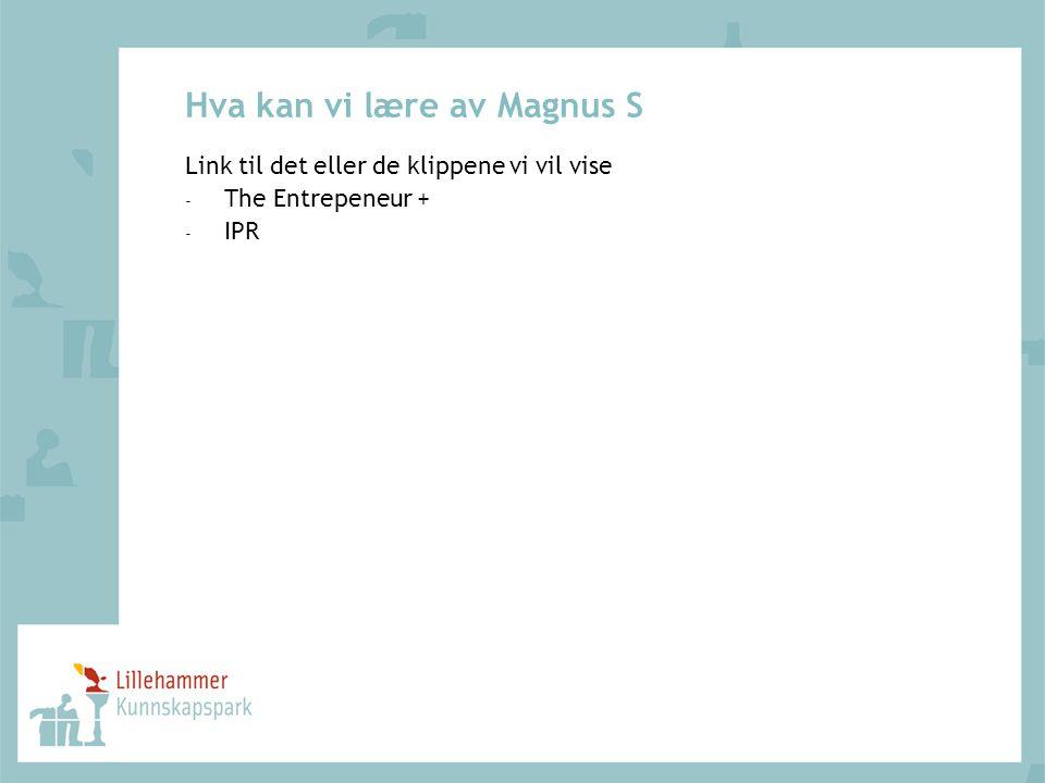 Hva kan vi lære av Magnus S Link til det eller de klippene vi vil vise - The Entrepeneur + - IPR