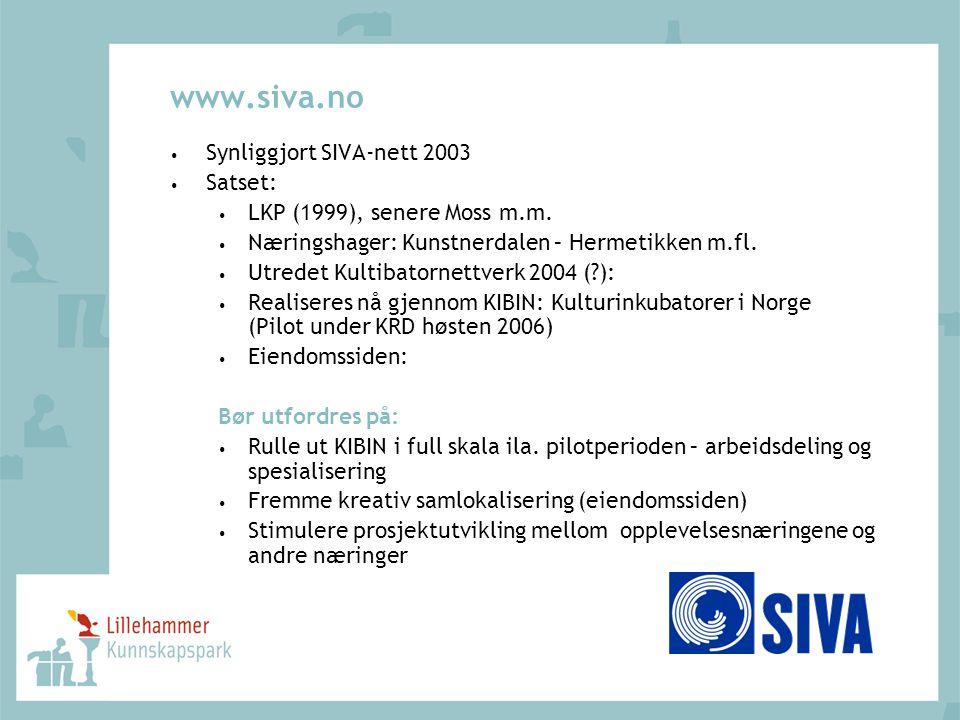 www.siva.no Synliggjort SIVA-nett 2003 Satset: LKP (1999), senere Moss m.m. Næringshager: Kunstnerdalen – Hermetikken m.fl. Utredet Kultibatornettverk