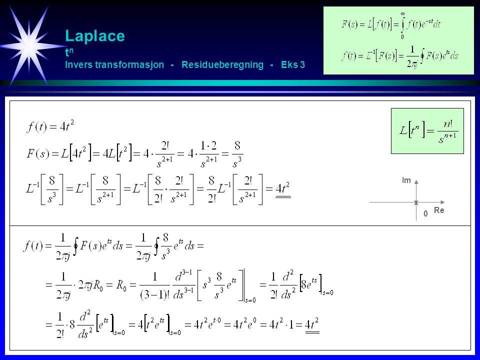 Laplace t n Invers transformasjon - Residueberegning - Eks 3 Re Im x 0