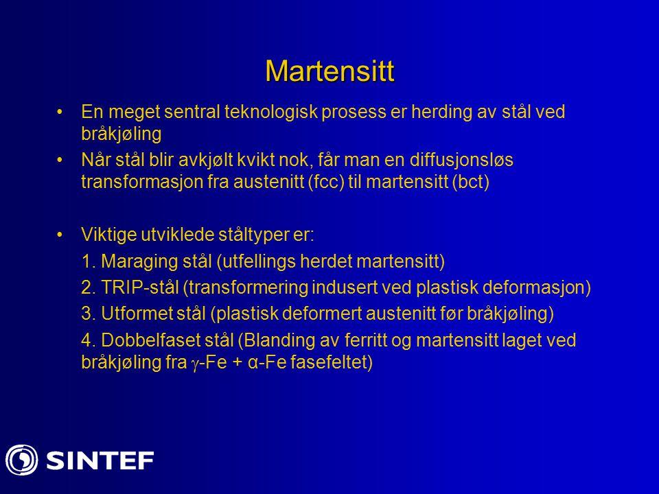 Sammenligning mellom eksperimenter og Krystallografisk modell II Ikke uventet er det spredning i resultatene vedrørende vekstplan (habit plane) for martensitt Ved økende C-innhold endrer vekstplanene seg fra {111}   {225}   {259}  {111}  -martensitt er assosiert med masse dislokasjoner og skivefomede plater (laths) tvillinger dominerer i {259}  -martemsitt