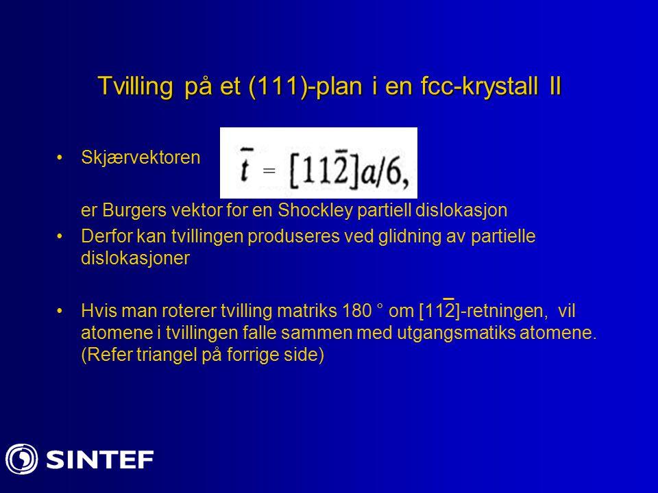 Tvilling på et (111)-plan i en fcc-krystall II Skjærvektoren er Burgers vektor for en Shockley partiell dislokasjon Derfor kan tvillingen produseres v