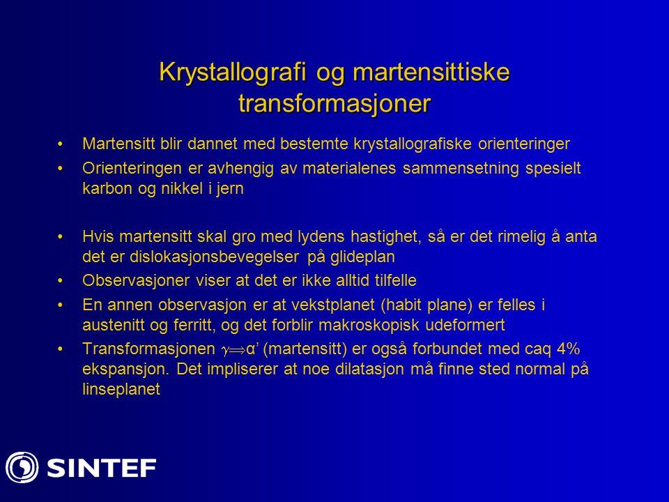 Krystallografi og martensittiske transformasjoner Martensitt blir dannet med bestemte krystallografiske orienteringer Orienteringen er avhengig av mat
