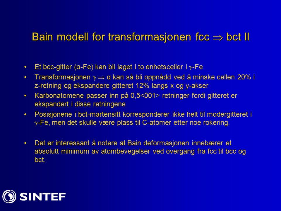 Bain modell for transformasjonen fcc  bct II Et bcc-gitter (α-Fe) kan bli laget i to enhetsceller i  -Fe Transformasjonen   α kan så bli oppnådd v