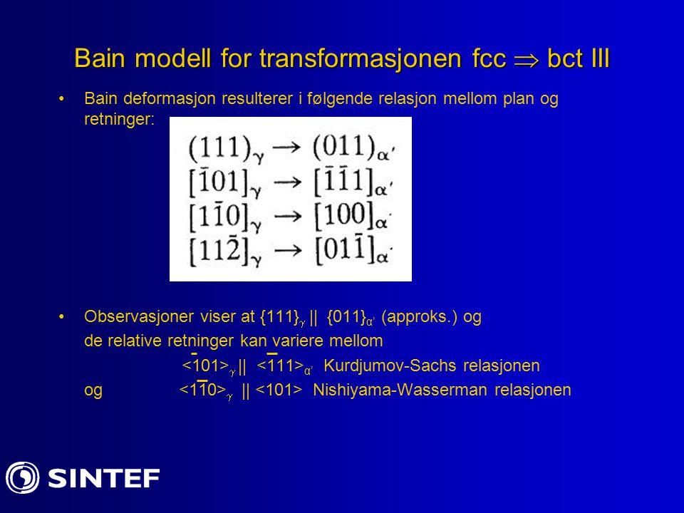 Bain modell for transformasjonen fcc  bct III Bain deformasjon resulterer i følgende relasjon mellom plan og retninger: Observasjoner viser at {111}