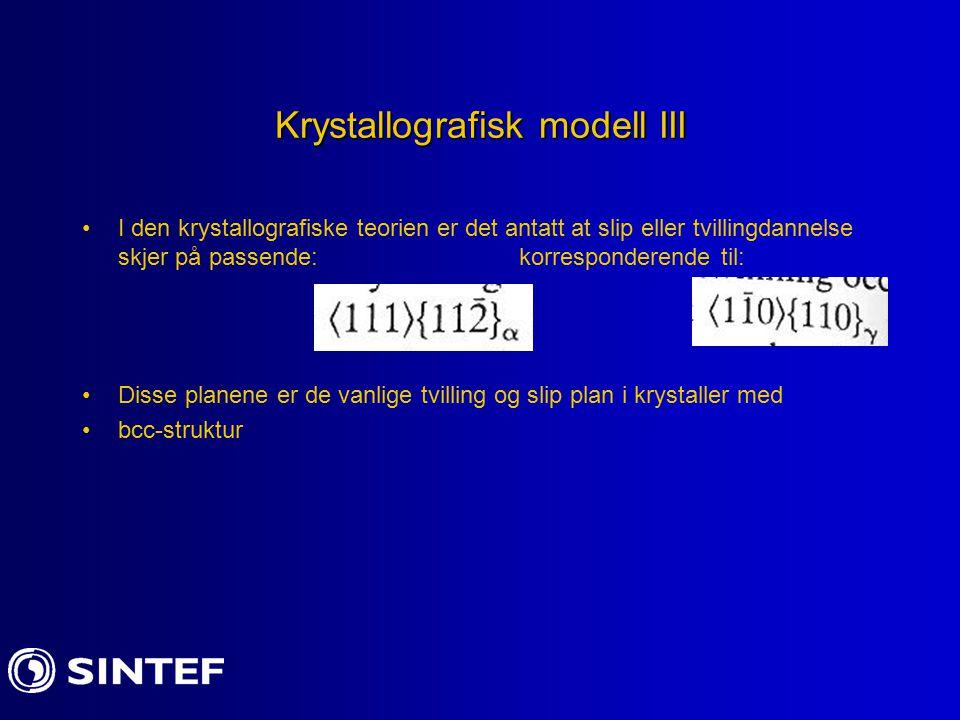 Krystallografisk modell III I den krystallografiske teorien er det antatt at slip eller tvillingdannelse skjer på passende: korresponderende til: Diss