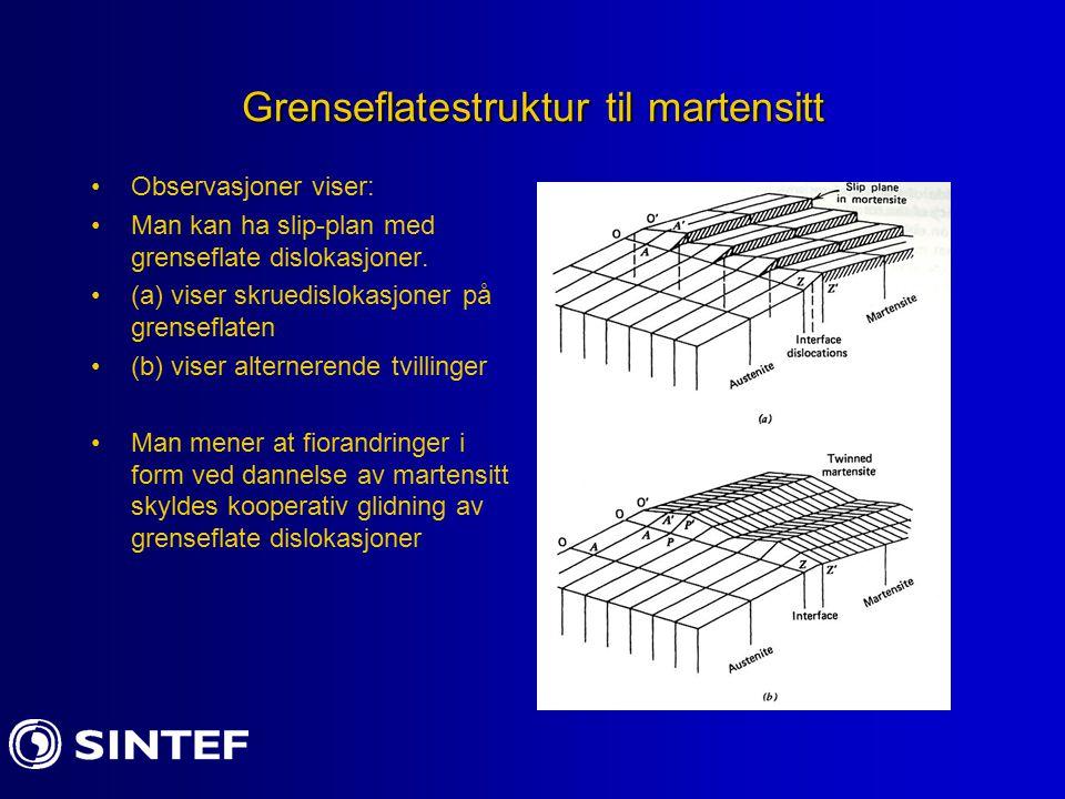 Grenseflatestruktur til martensitt Observasjoner viser: Man kan ha slip-plan med grenseflate dislokasjoner. (a) viser skruedislokasjoner på grenseflat