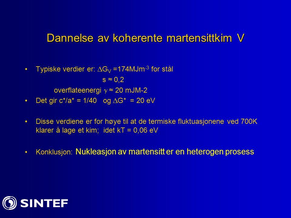 Dannelse av koherente martensittkim V Typiske verdier er:  G V =174MJm -3 for stål s ≈ 0,2 overflateenergi  ≈ 20 mJM-2 Det gir c*/a* = 1/40 og  G*