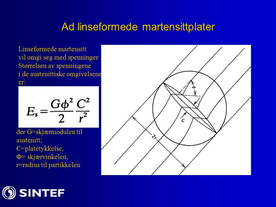 Ad linseformede martensittplater Linseformede martensitt vil omgi seg med spenninger Størrelsen av spenningene i de austenittiske omgivelsene er: der