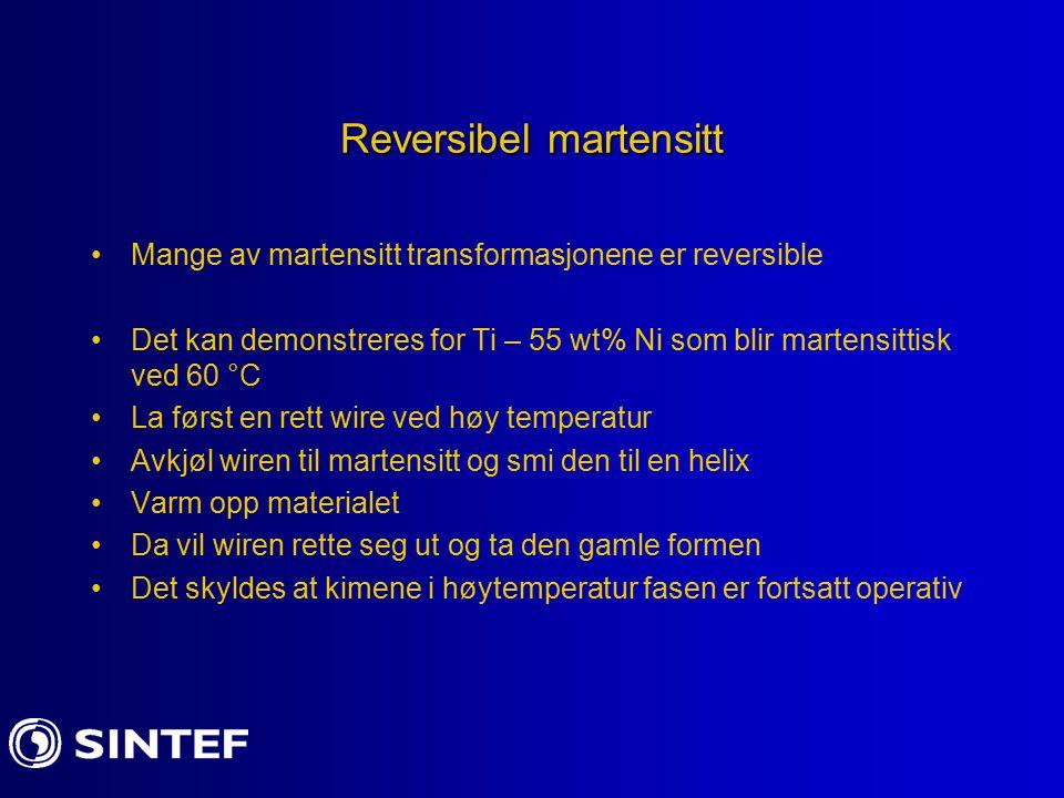 Reversibel martensitt Mange av martensitt transformasjonene er reversible Det kan demonstreres for Ti – 55 wt% Ni som blir martensittisk ved 60 °C La