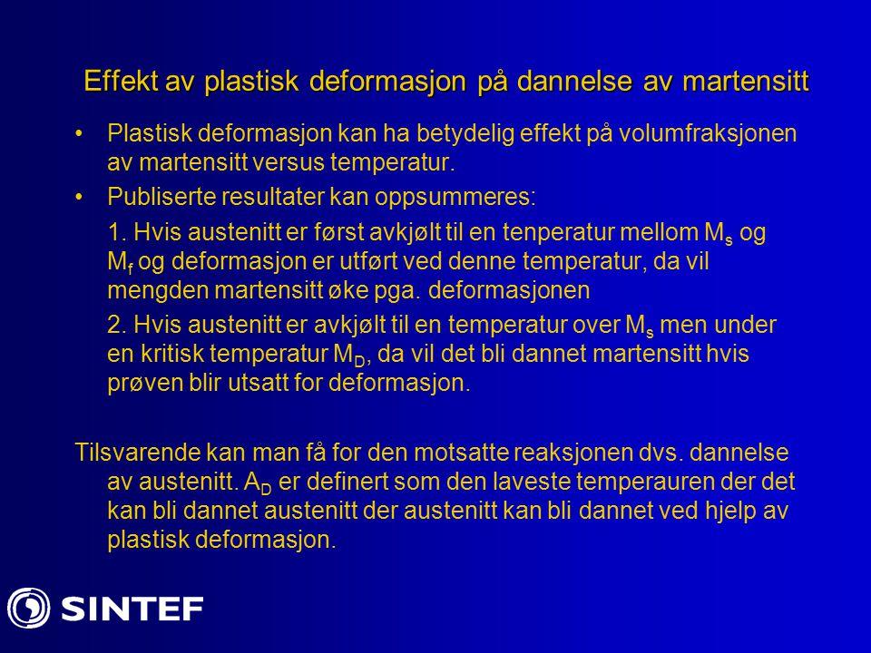 Effekt av plastisk deformasjon på dannelse av martensitt Plastisk deformasjon kan ha betydelig effekt på volumfraksjonen av martensitt versus temperat