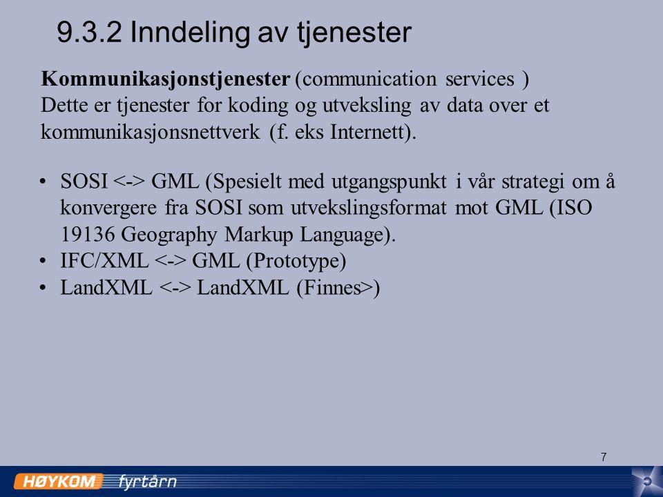 7 9.3.2 Inndeling av tjenester Kommunikasjonstjenester (communication services ) Dette er tjenester for koding og utveksling av data over et kommunikasjonsnettverk (f.
