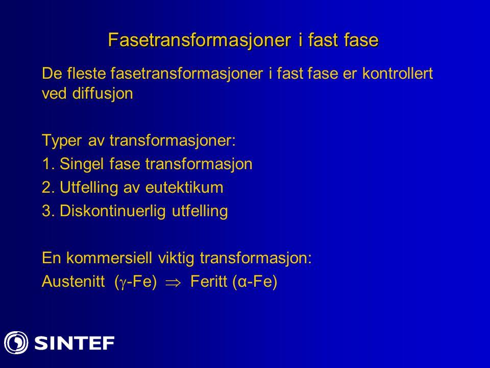 Fasetransformasjoner i fast fase De fleste fasetransformasjoner i fast fase er kontrollert ved diffusjon Typer av transformasjoner: 1. Singel fase tra