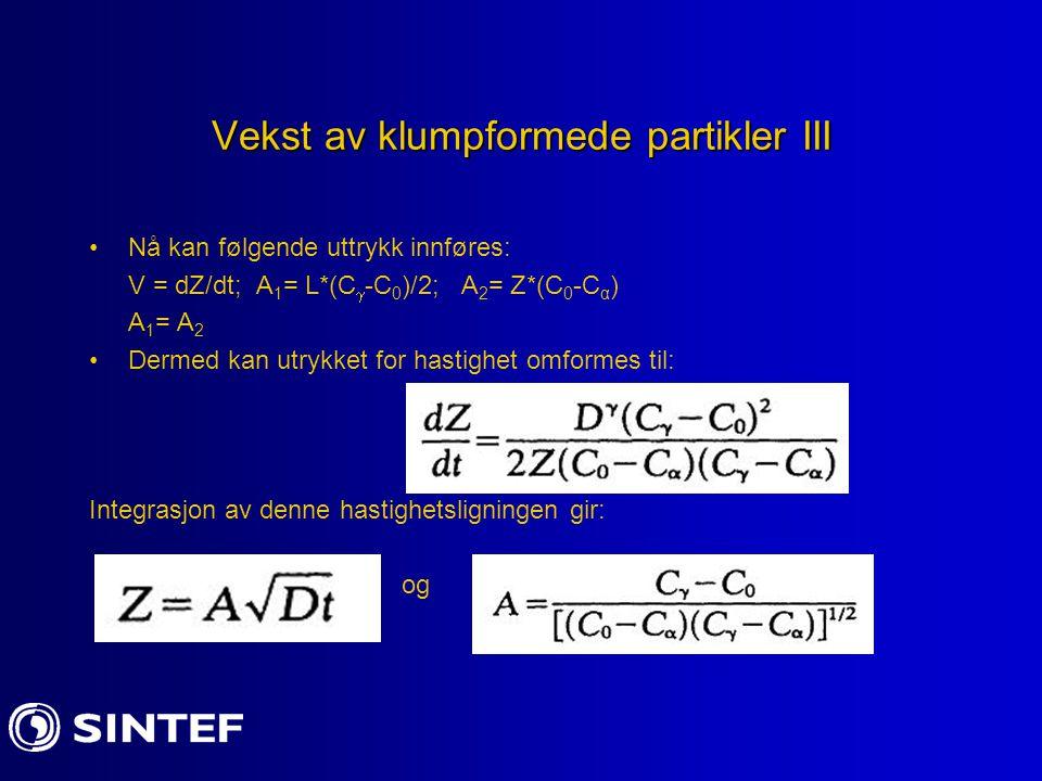 Vekst av klumpformede partikler III Nå kan følgende uttrykk innføres: V = dZ/dt; A 1 = L*(C  -C 0 )/2; A 2 = Z*(C 0 -C α ) A 1 = A 2 Dermed kan utryk