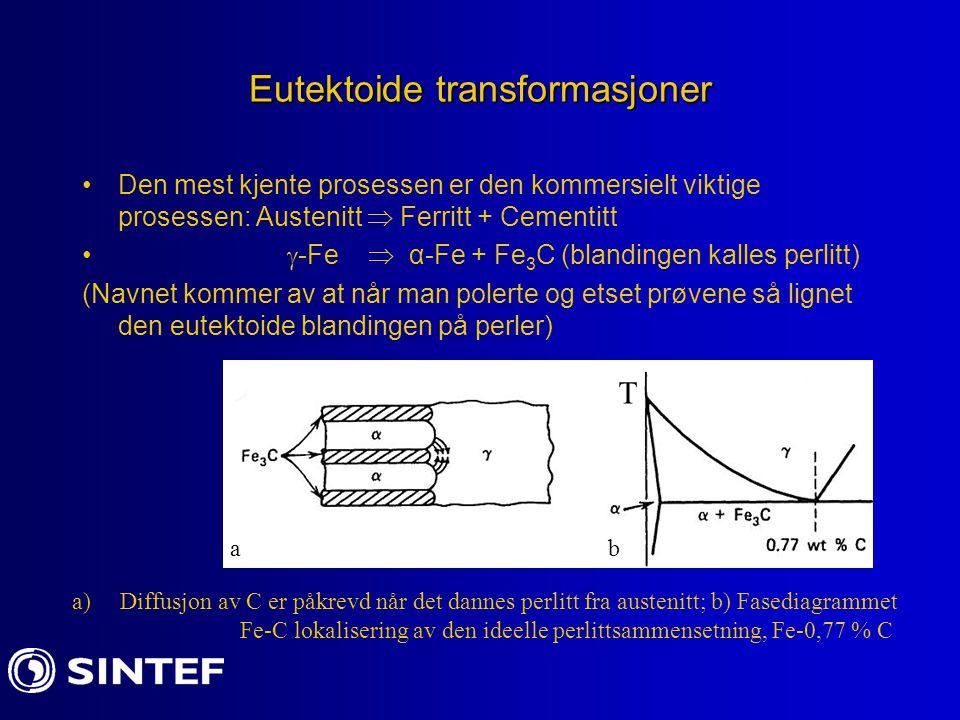Eutektoide transformasjoner Den mest kjente prosessen er den kommersielt viktige prosessen: Austenitt  Ferritt + Cementitt  -Fe  α-Fe + Fe 3 C (bla