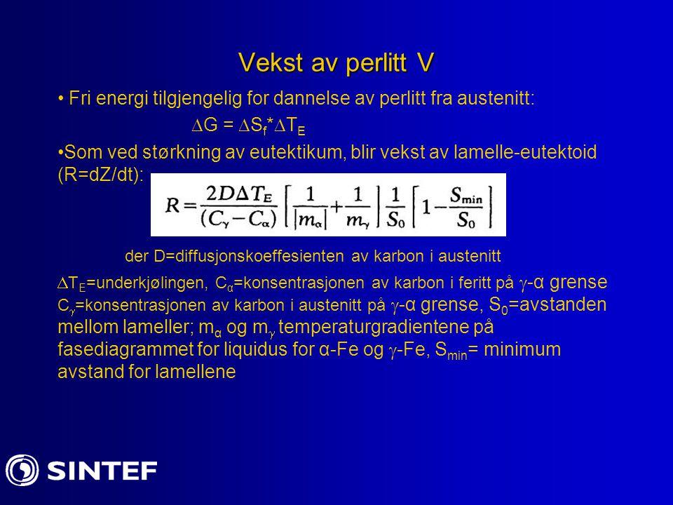 Vekst av perlitt V Fri energi tilgjengelig for dannelse av perlitt fra austenitt:  G =  S f *  T E Som ved størkning av eutektikum, blir vekst av l