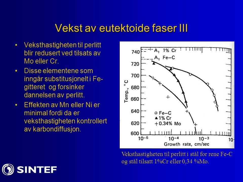 Vekst av eutektoide faser III Veksthastigheten til perlitt blir redusert ved tilsats av Mo eller Cr. Disse elementene som inngår substitusjonelt i Fe-