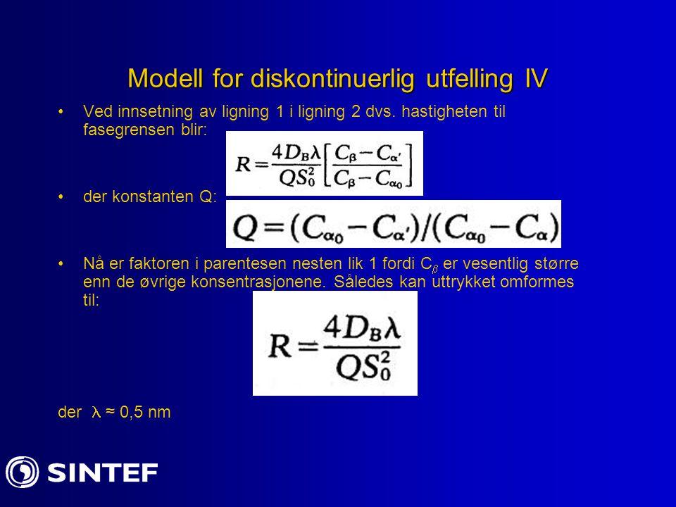 Modell for diskontinuerlig utfelling IV Ved innsetning av ligning 1 i ligning 2 dvs. hastigheten til fasegrensen blir: der konstanten Q: Nå er faktore