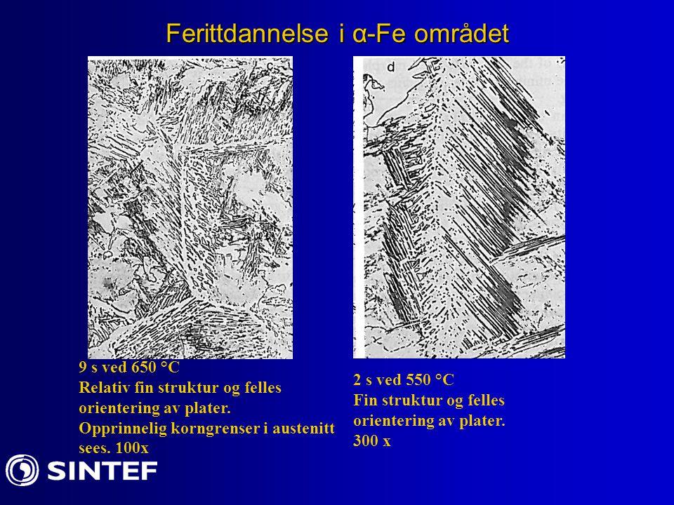 Ferittdannelse i α-Fe området 9 s ved 650 °C Relativ fin struktur og felles orientering av plater. Opprinnelig korngrenser i austenitt sees. 100x 2 s