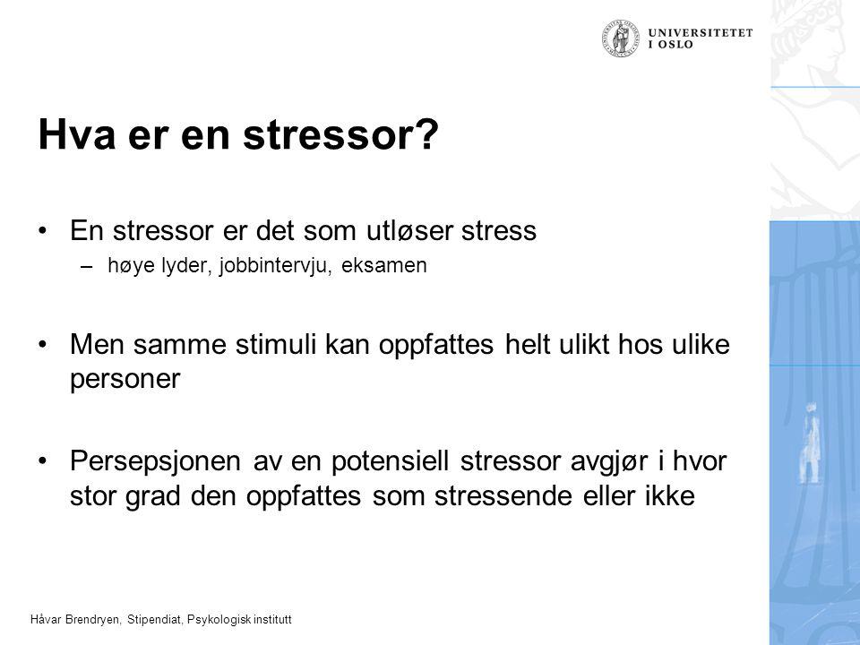Håvar Brendryen, Stipendiat, Psykologisk institutt Hva er en stressor? En stressor er det som utløser stress –høye lyder, jobbintervju, eksamen Men sa