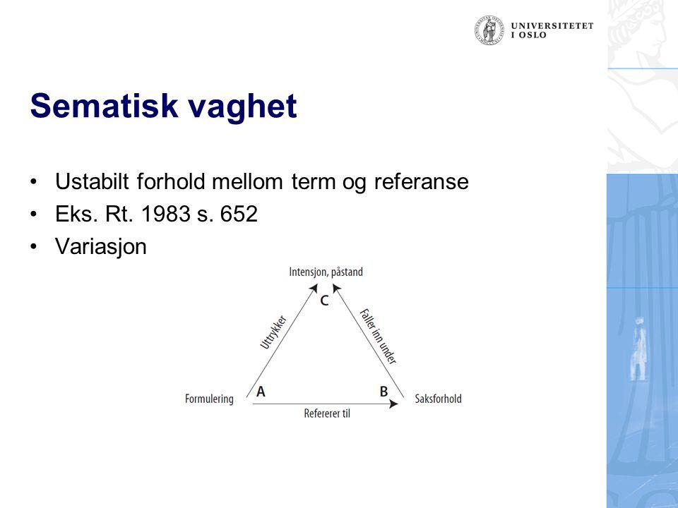 Sematisk vaghet Ustabilt forhold mellom term og referanse Eks. Rt. 1983 s. 652 Variasjon