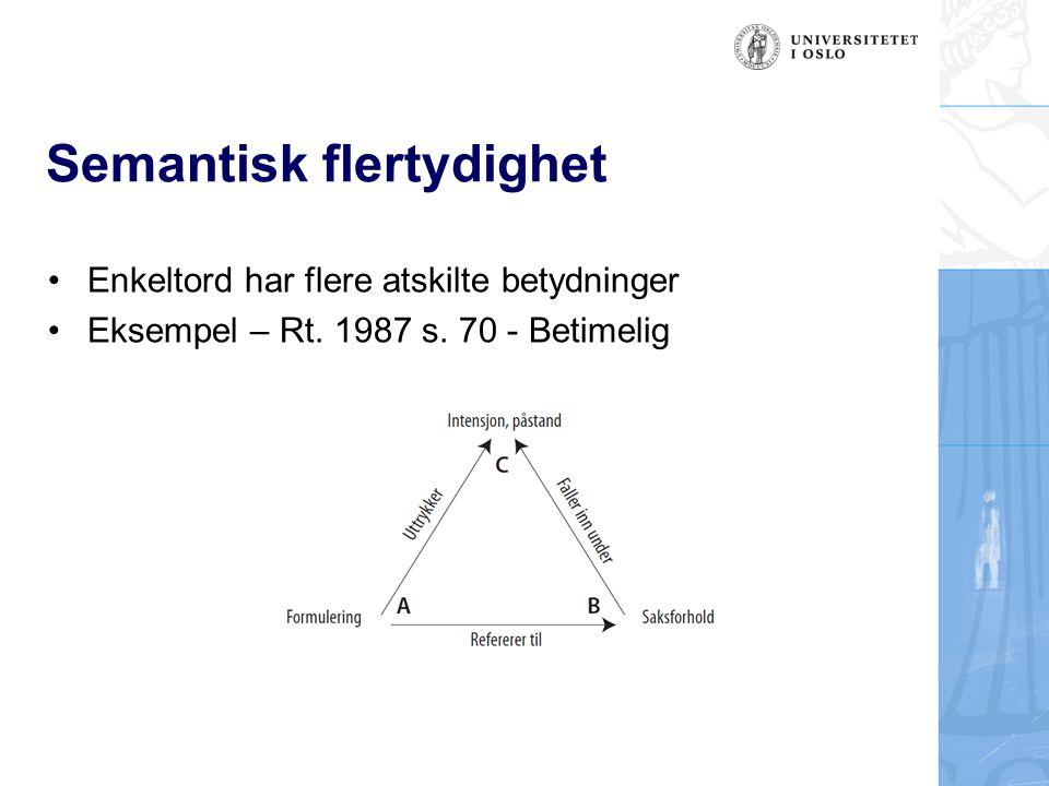 Semantisk flertydighet Enkeltord har flere atskilte betydninger Eksempel – Rt. 1987 s. 70 - Betimelig