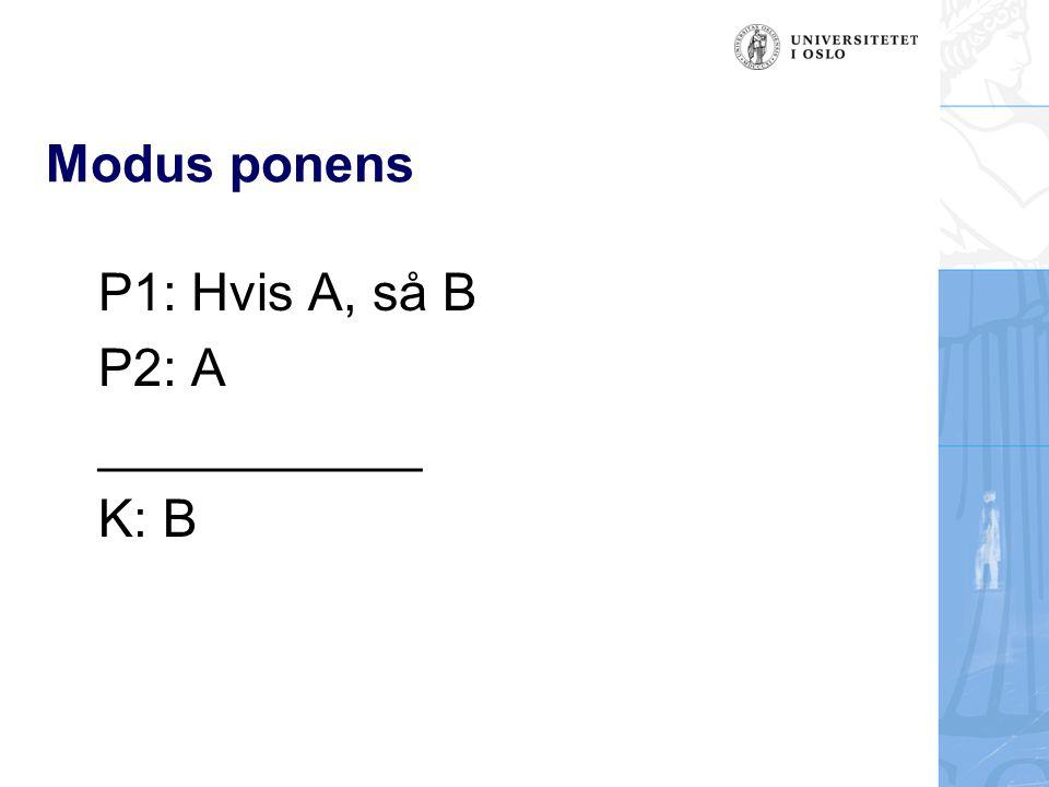 Modus ponens P1: Hvis A, så B P2: A ___________ K: B