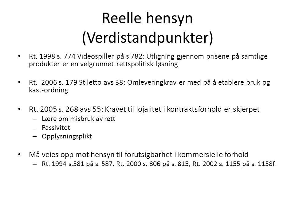 Reelle hensyn (Verdistandpunkter) Rt.1998 s.