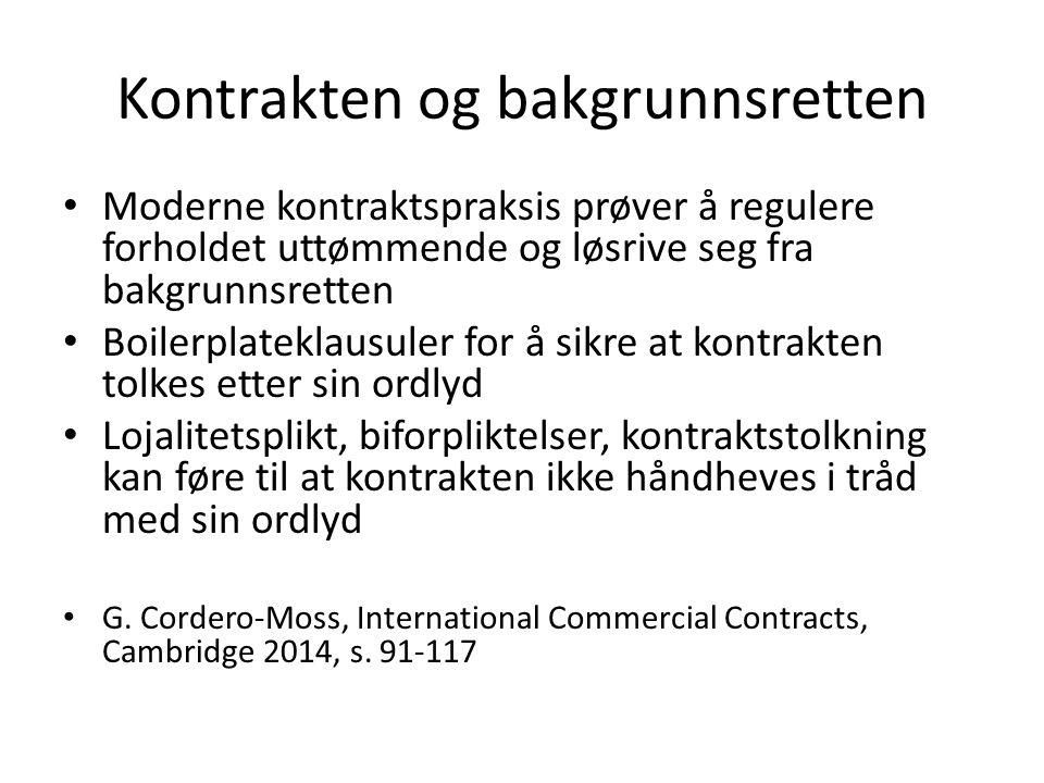 Kontrakten og bakgrunnsretten Moderne kontraktspraksis prøver å regulere forholdet uttømmende og løsrive seg fra bakgrunnsretten Boilerplateklausuler for å sikre at kontrakten tolkes etter sin ordlyd Lojalitetsplikt, biforpliktelser, kontraktstolkning kan føre til at kontrakten ikke håndheves i tråd med sin ordlyd G.