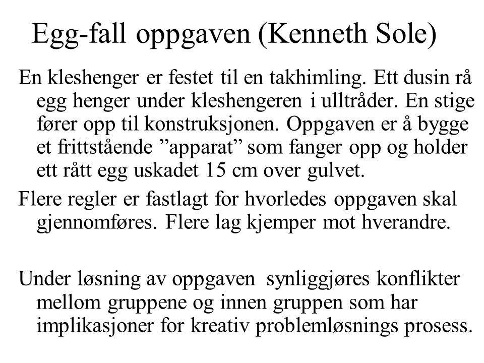 Egg-fall oppgaven (Kenneth Sole) En kleshenger er festet til en takhimling. Ett dusin rå egg henger under kleshengeren i ulltråder. En stige fører opp