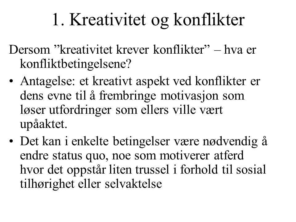 """1. Kreativitet og konflikter Dersom """"kreativitet krever konflikter"""" – hva er konfliktbetingelsene? Antagelse: et kreativt aspekt ved konflikter er den"""