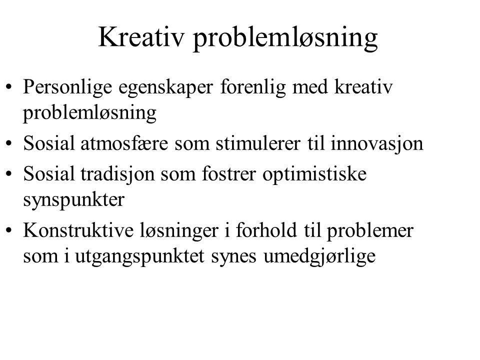 Kreativ problemløsning Personlige egenskaper forenlig med kreativ problemløsning Sosial atmosfære som stimulerer til innovasjon Sosial tradisjon som f