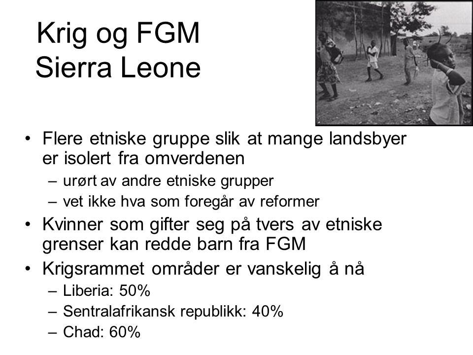 Krig og FGM Sierra Leone Flere etniske gruppe slik at mange landsbyer er isolert fra omverdenen –urørt av andre etniske grupper –vet ikke hva som foregår av reformer Kvinner som gifter seg på tvers av etniske grenser kan redde barn fra FGM Krigsrammet områder er vanskelig å nå –Liberia: 50% –Sentralafrikansk republikk: 40% –Chad: 60%