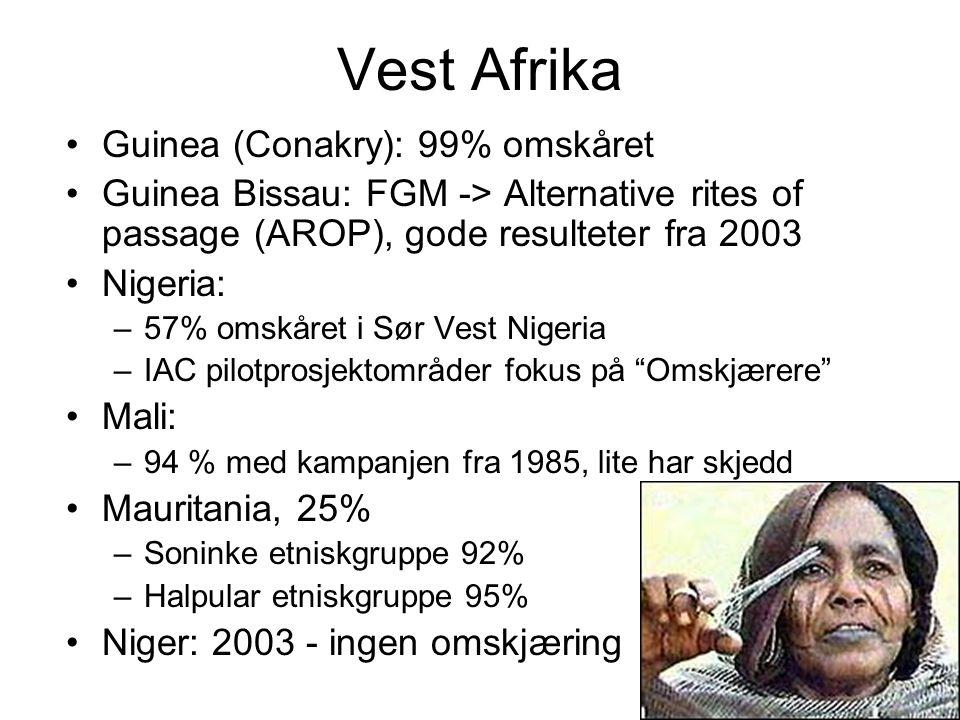 Vest Afrika Guinea (Conakry): 99% omskåret Guinea Bissau: FGM -> Alternative rites of passage (AROP), gode resulteter fra 2003 Nigeria: –57% omskåret i Sør Vest Nigeria –IAC pilotprosjektområder fokus på Omskjærere Mali: –94 % med kampanjen fra 1985, lite har skjedd Mauritania, 25% –Soninke etniskgruppe 92% –Halpular etniskgruppe 95% Niger: 2003 - ingen omskjæring