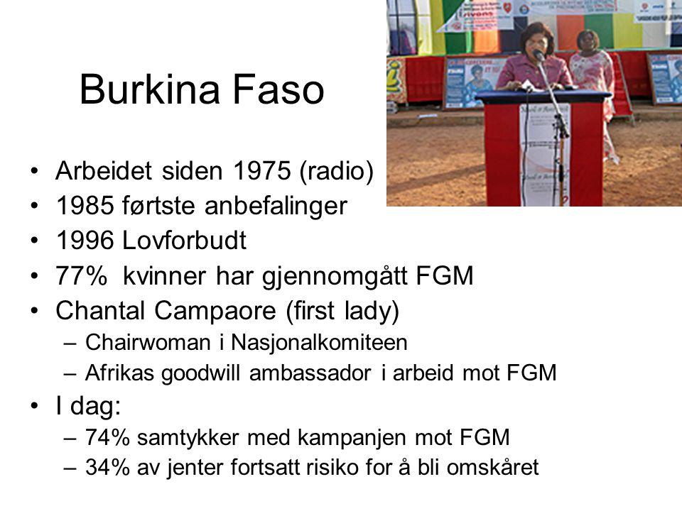 Burkina Faso Arbeidet siden 1975 (radio) 1985 førtste anbefalinger 1996 Lovforbudt 77% kvinner har gjennomgått FGM Chantal Campaore (first lady) –Chairwoman i Nasjonalkomiteen –Afrikas goodwill ambassador i arbeid mot FGM I dag: –74% samtykker med kampanjen mot FGM –34% av jenter fortsatt risiko for å bli omskåret