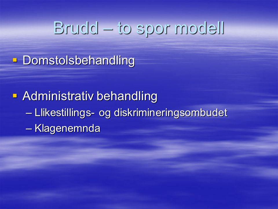Brudd – to spor modell  Domstolsbehandling  Administrativ behandling –Llikestillings- og diskrimineringsombudet –Klagenemnda