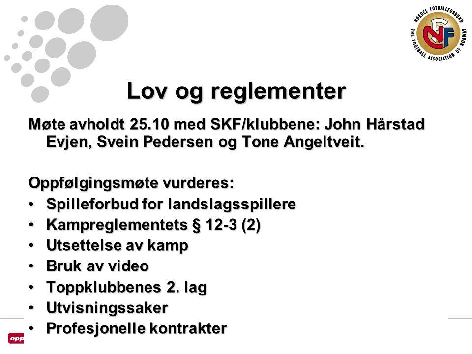 Lov og reglementer Møte avholdt 25.10 med SKF/klubbene: John Hårstad Evjen, Svein Pedersen og Tone Angeltveit.