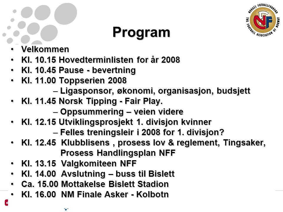 Program VelkommenVelkommen Kl. 10.15 Hovedterminlisten for år 2008Kl.