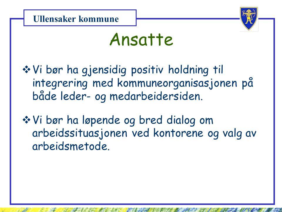 Ullensaker kommune Ansatte  Vi bør ha gjensidig positiv holdning til integrering med kommuneorganisasjonen på både leder- og medarbeidersiden.