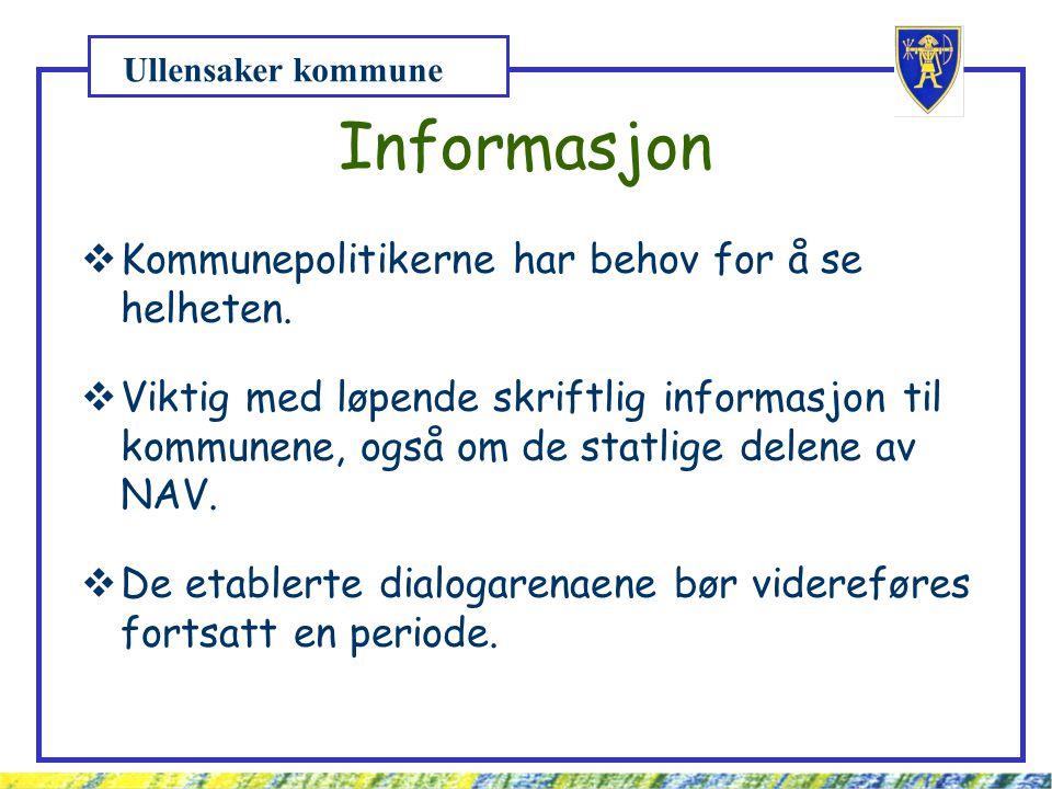 Ullensaker kommune Informasjon  Kommunepolitikerne har behov for å se helheten.