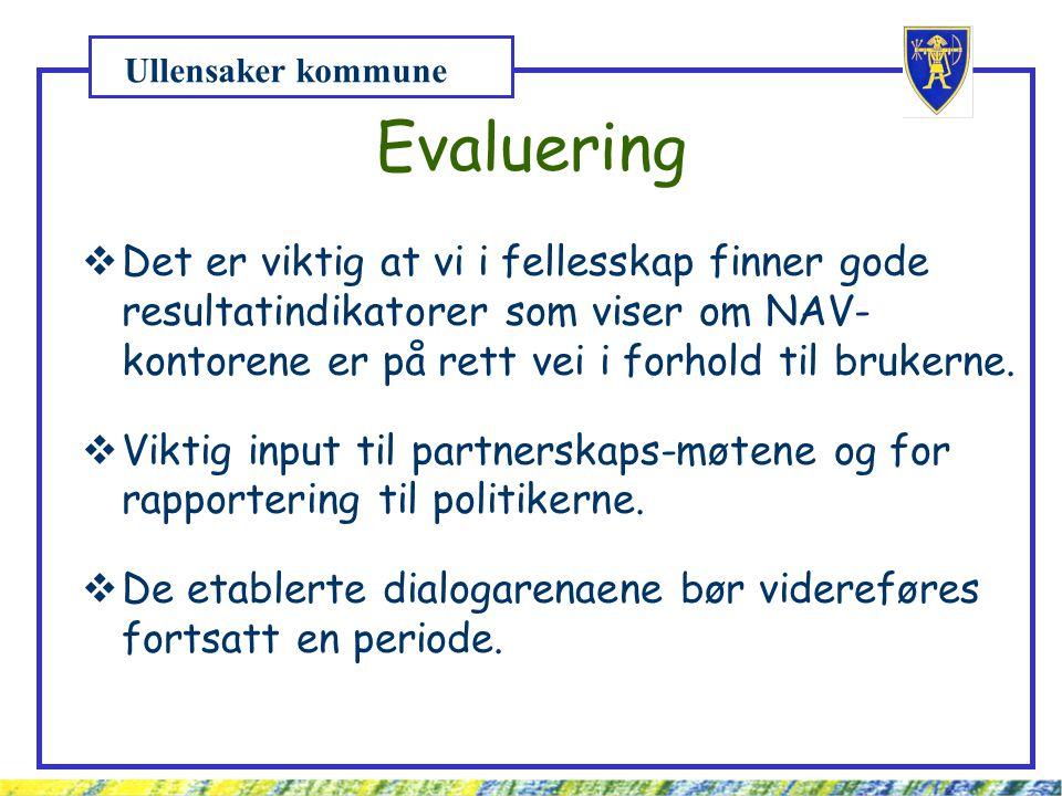 Ullensaker kommune Evaluering  Det er viktig at vi i fellesskap finner gode resultatindikatorer som viser om NAV- kontorene er på rett vei i forhold til brukerne.