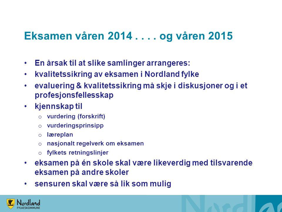 Eksamen våren 2014.... og våren 2015 En årsak til at slike samlinger arrangeres: kvalitetssikring av eksamen i Nordland fylke evaluering & kvalitetssi