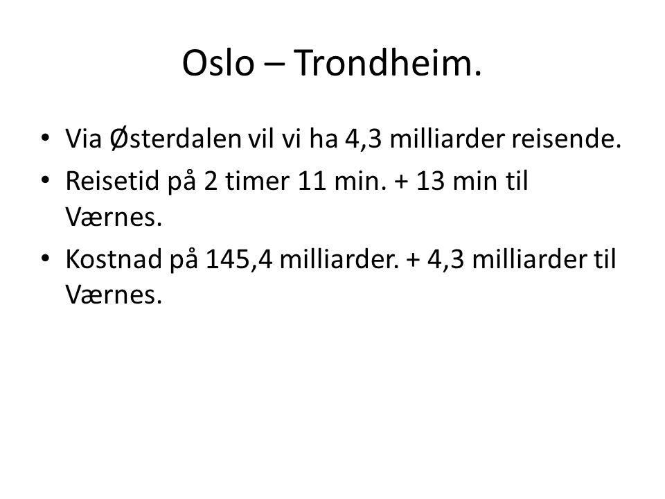 Oslo – Trondheim. Via Østerdalen vil vi ha 4,3 milliarder reisende. Reisetid på 2 timer 11 min. + 13 min til Værnes. Kostnad på 145,4 milliarder. + 4,