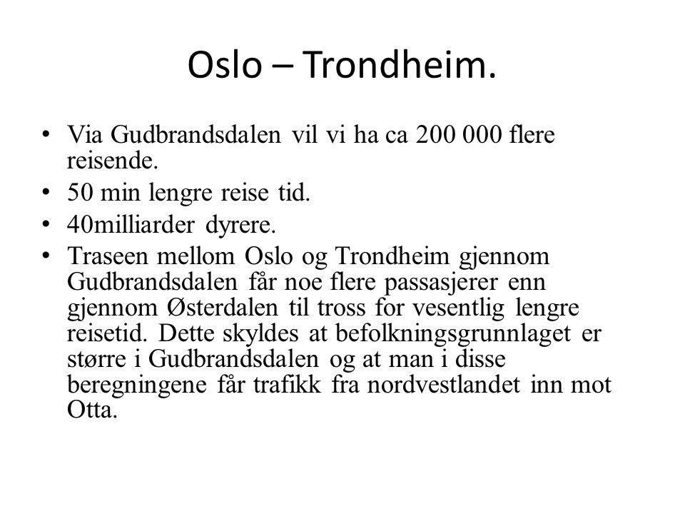 Oslo – Trondheim. Via Gudbrandsdalen vil vi ha ca 200 000 flere reisende. 50 min lengre reise tid. 40milliarder dyrere. Traseen mellom Oslo og Trondhe