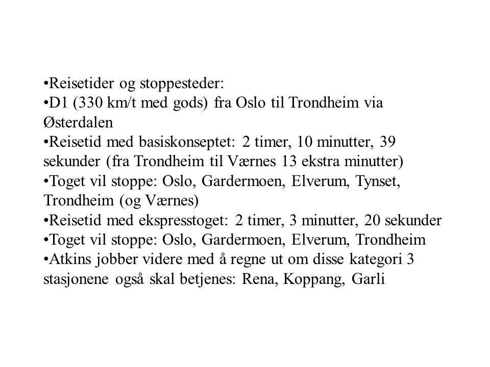 Reisetider og stoppesteder: D1 (330 km/t med gods) fra Oslo til Trondheim via Østerdalen Reisetid med basiskonseptet: 2 timer, 10 minutter, 39 sekunde