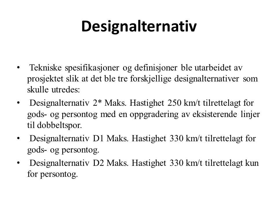 Designalternativ D1: Dette er et høyhastighetsalternativ med en fart på 330 km/t, og som inkluderer godstrafikk.
