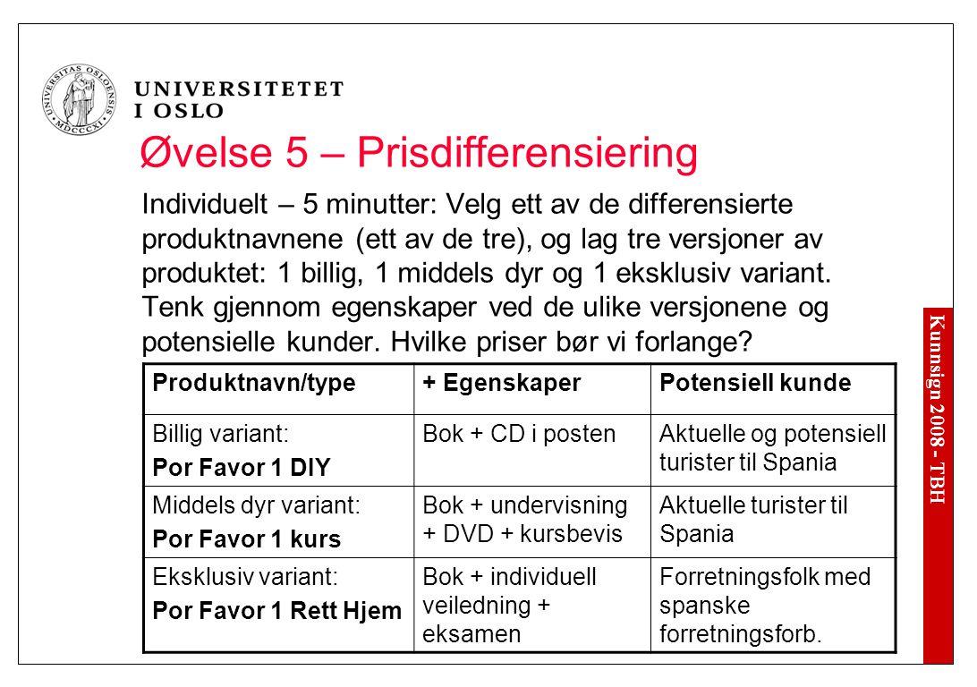 Kunnsign 2008 - TBH Øvelse 5 – Prisdifferensiering Individuelt – 5 minutter: Velg ett av de differensierte produktnavnene (ett av de tre), og lag tre